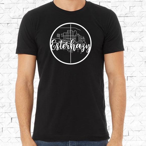 adult-sized black short-sleeved shirt with white Esterhazy hometown map design