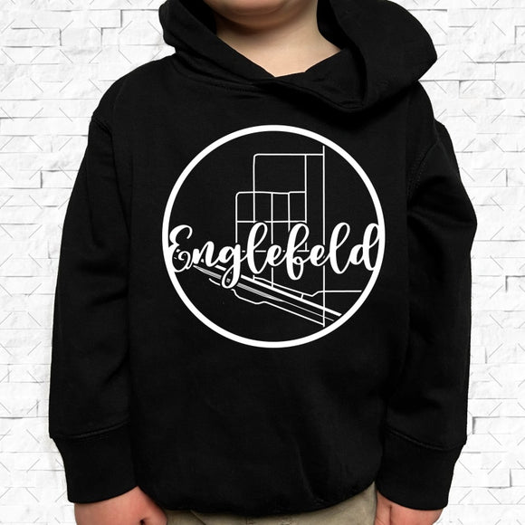 toddler-sized black hoodie with Englefeld hometown map design