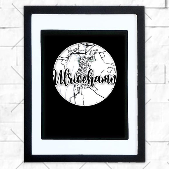 Close-up of Ulricehamn hometown map design in black shadowbox frame with white matte
