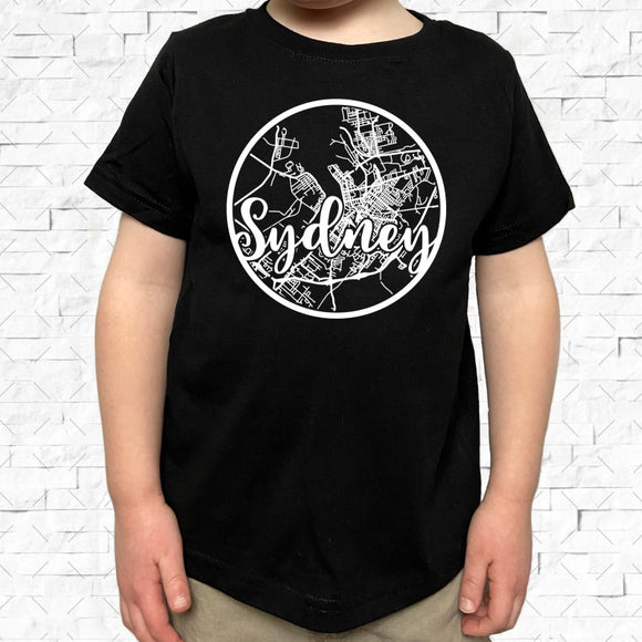 toddler-sized black short-sleeved shirt with white Sydney hometown map design