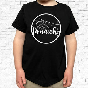 toddler-sized black short-sleeved shirt with white Punnichy hometown map design