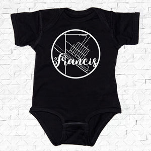 baby-sized black short-sleeved onesie with Francis hometown map design