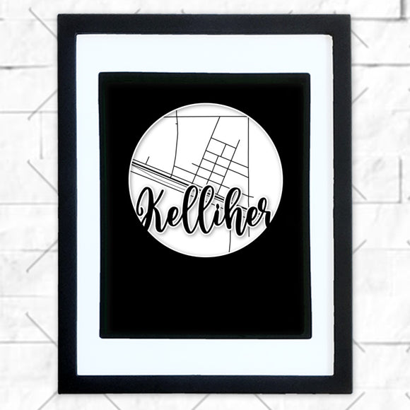 Close-up of Kelliher hometown map design in black shadowbox frame with white matte