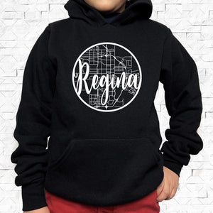 youth-sized black hoodie with white Regina hometown map design
