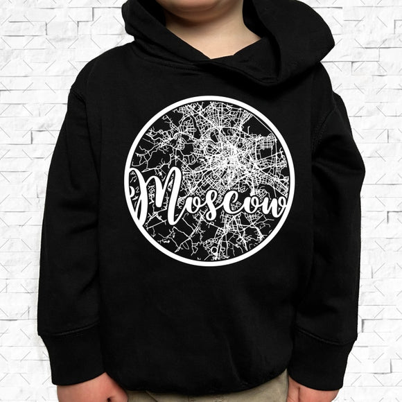 toddler-sized black hoodie with Moscow hometown map design