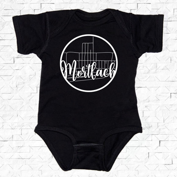 baby-sized black short-sleeved onesie with Mortlach hometown map design
