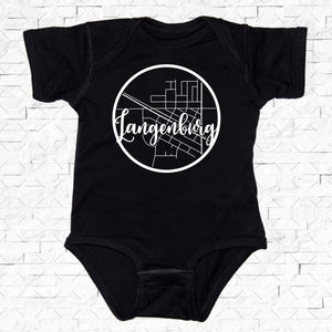 baby-sized black short-sleeved onesie with Langenburg hometown map design