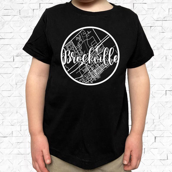 toddler-sized black short-sleeved shirt with white Brockville hometown map design