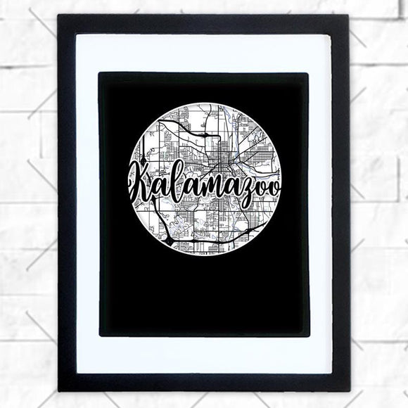 Close-up of Kalamazoo hometown map design in black shadowbox frame with white matte