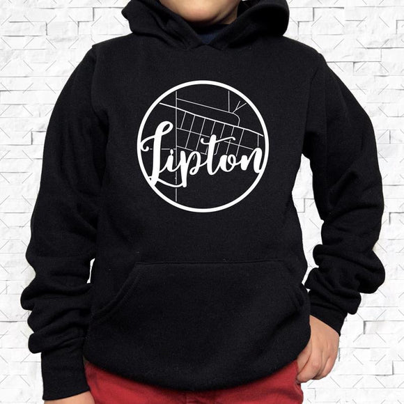youth-sized black hoodie with white Lipton hometown map design