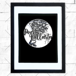 Close-up of Puerto Vallarta hometown map design in black shadowbox frame with white matte