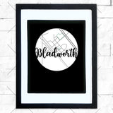 Close-up of Bladworth hometown map design in black shadowbox frame with white matte