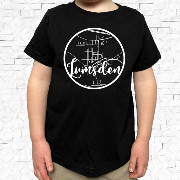 toddler-sized black short-sleeved shirt with white Lumsden hometown map design
