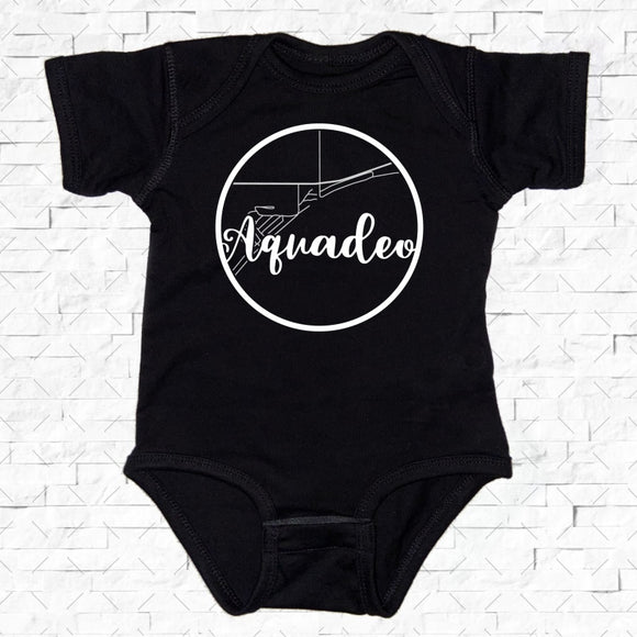 baby-sized black short-sleeved onesie with Aquadeo hometown map design