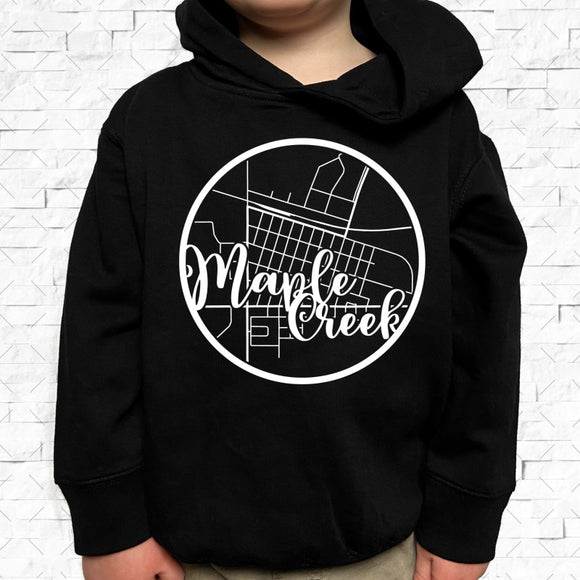 toddler-sized black hoodie with Maple Creek hometown map design