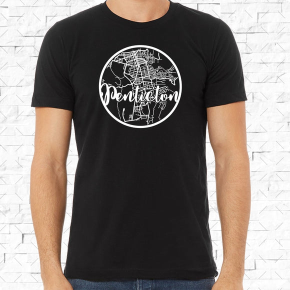 adult-sized black short-sleeved shirt with white Penticton hometown map design