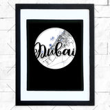 Close-up of Dubai hometown map design in black shadowbox frame with white matte