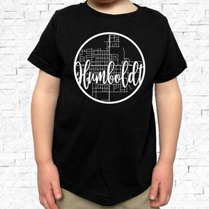 toddler-sized black short-sleeved shirt with white Humboldt hometown map design