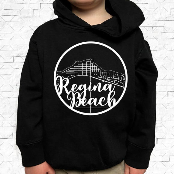 toddler-sized black hoodie with Regina Beach hometown map design