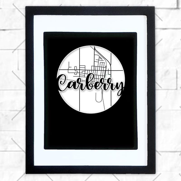 Close-up of Carberry hometown map design in black shadowbox frame with white matte