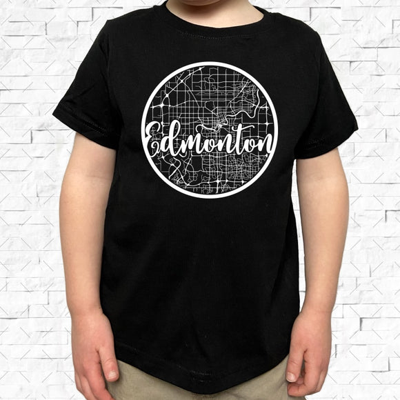 toddler-sized black short-sleeved shirt with white Edmonton hometown map design