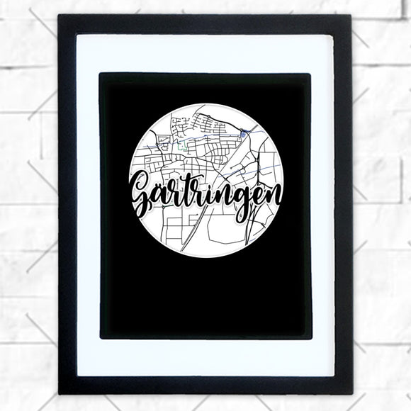Close-up of Gartringen hometown map design in black shadowbox frame with white matte