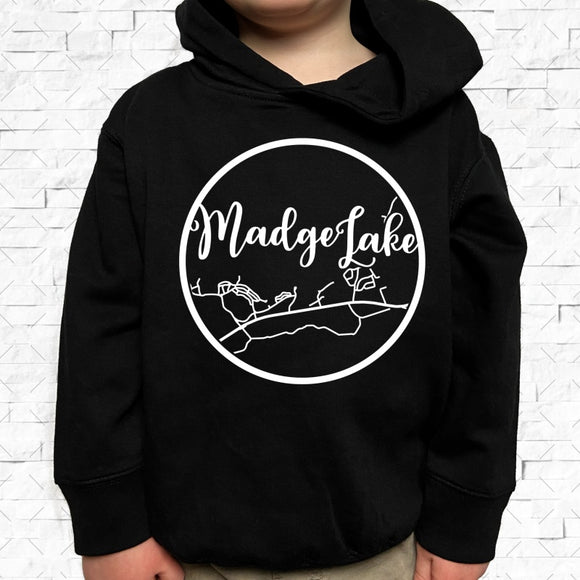 toddler-sized black hoodie with Madge Lake hometown map design