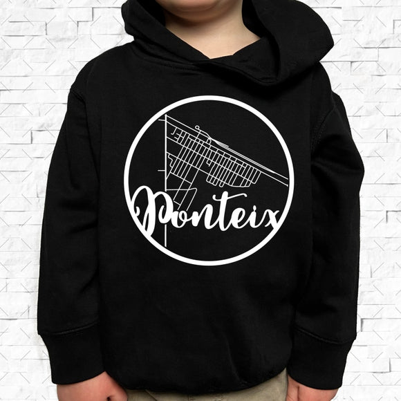 toddler-sized black hoodie with Ponteix hometown map design