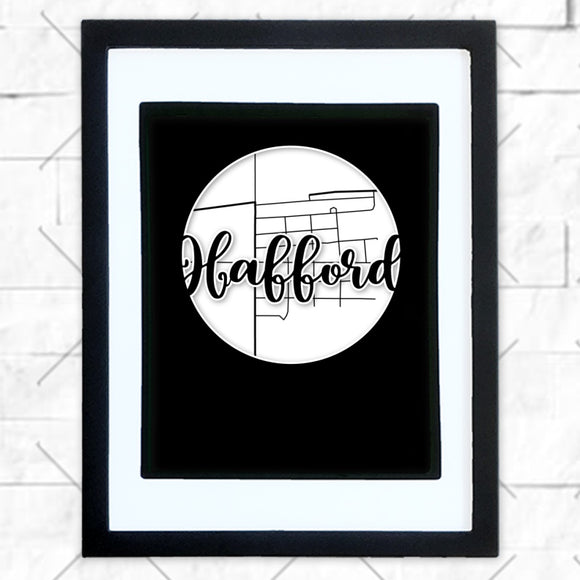 Close-up of Hafford hometown map design in black shadowbox frame with white matte
