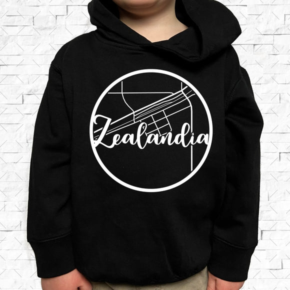 toddler-sized black hoodie with Zealandia hometown map design