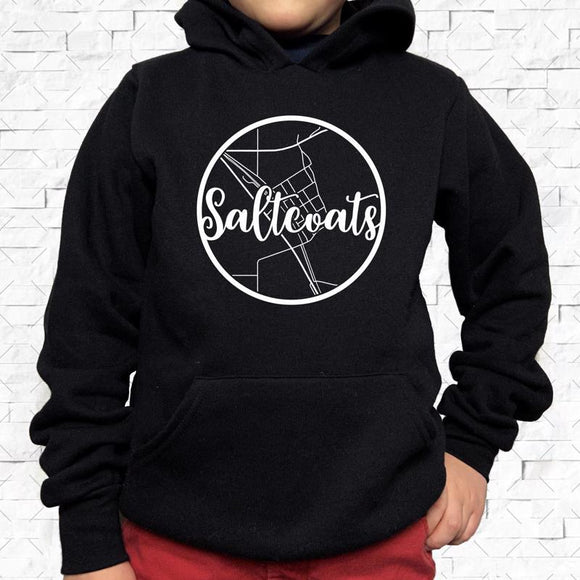 youth-sized black hoodie with white Saltcoats hometown map design