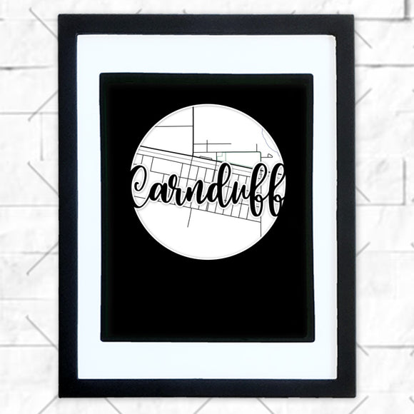 Close-up of Carnduff hometown map design in black shadowbox frame with white matte