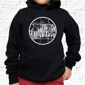 youth-sized black hoodie with white Yorkton hometown map design