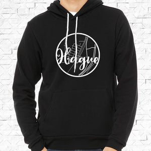 adult-sized black hoodie with white Hague hometown map design
