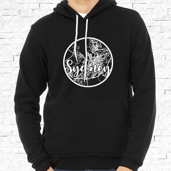 adult-sized black hoodie with white Sydney hometown map design