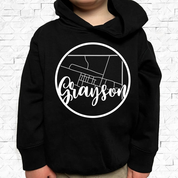 toddler-sized black hoodie with Grayson hometown map design