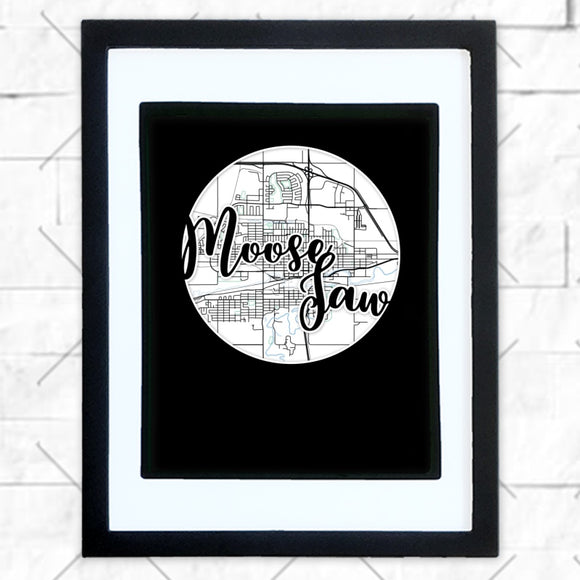 Close-up of Moose Jaw hometown map design in black shadowbox frame with white matte