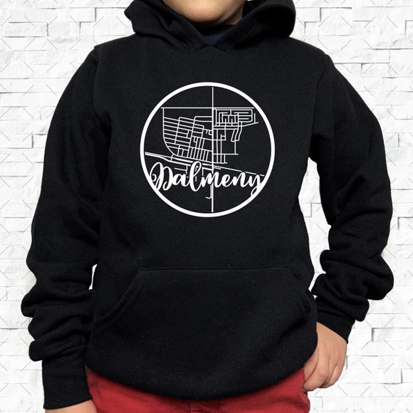 youth-sized black hoodie with white Dalmeny hometown map design