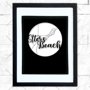 Close-up of Etters Beach hometown map design in black shadowbox frame with white matte