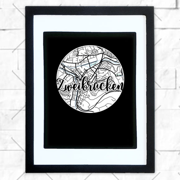 Close-up of Zweibrucken hometown map design in black shadowbox frame with white matte