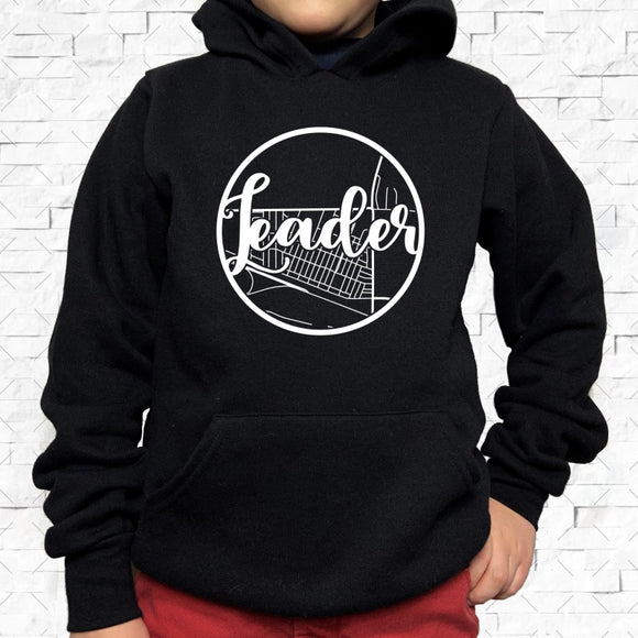 youth-sized black hoodie with white Leader hometown map design