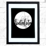 Close-up of Sintaluta hometown map design in black shadowbox frame with white matte