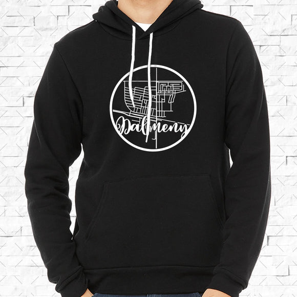 adult-sized black hoodie with white Dalmeny hometown map design
