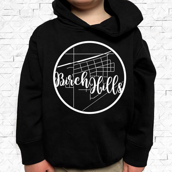 toddler-sized black hoodie with Birch Hills hometown map design