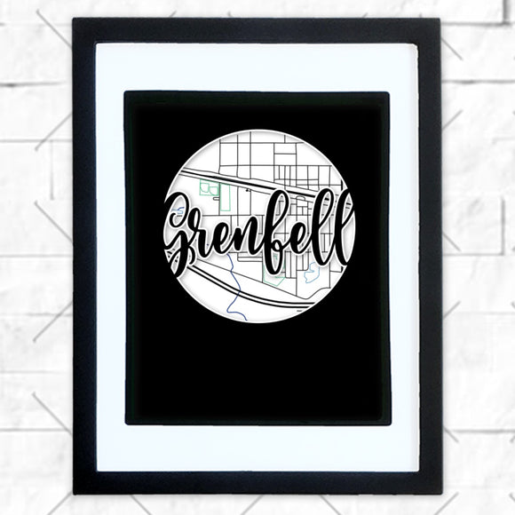 Close-up of Grenfell hometown map design in black shadowbox frame with white matte