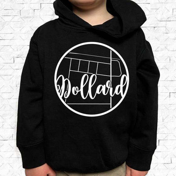 toddler-sized black hoodie with Dollard hometown map design