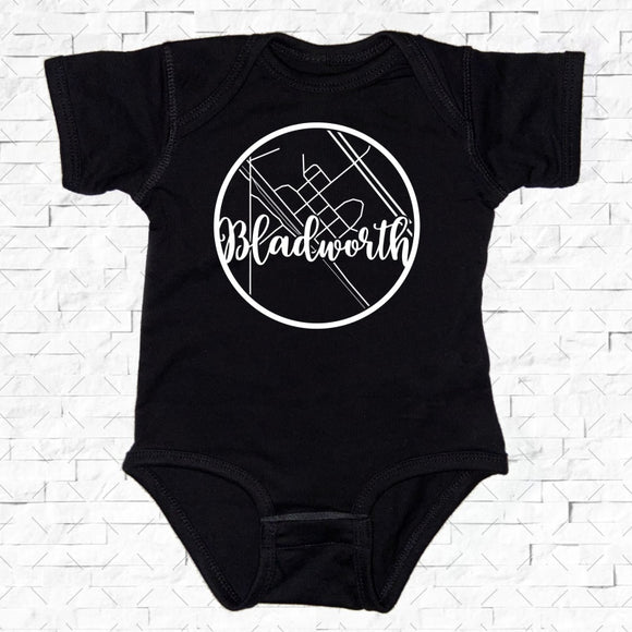 baby-sized black short-sleeved onesie with Bladworth hometown map design