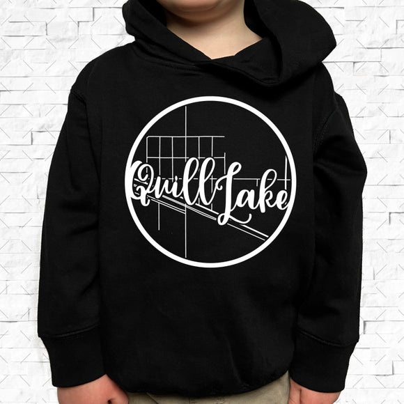 toddler-sized black hoodie with Quill Lake hometown map design