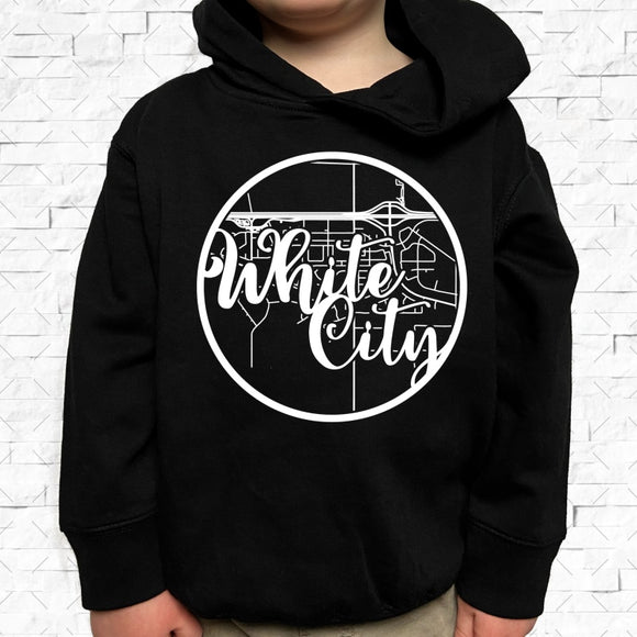 toddler-sized black hoodie with White City hometown map design