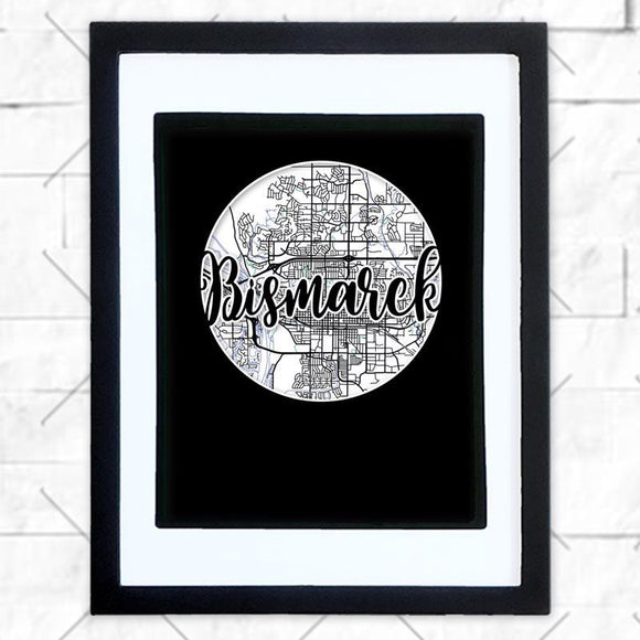 Close-up of Bismarck hometown map design in black shadowbox frame with white matte